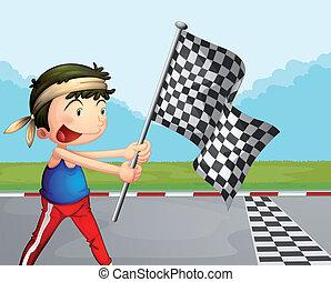 junge, checkered, banner, junger, besitz