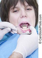 junge, dental, klinik, visit., doktors, während