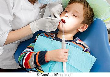 junge, dental, zahnarzt, verfahren, während