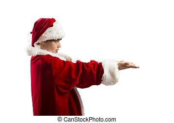 junge, empfangen, junger, bereit, weihnachtsgeschenk