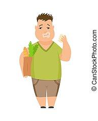 junge, essende, reizend, lebensmittel, übergewichtige , schnell, hintergrund., vektor, abbildung, charaktere, kind, pummelig, weißes, karikatur