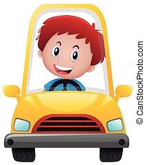 junge, fahren, gelbes auto