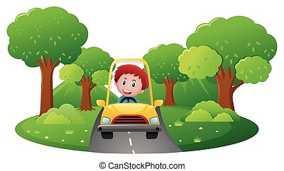 junge, fahren, gelbes auto, straße