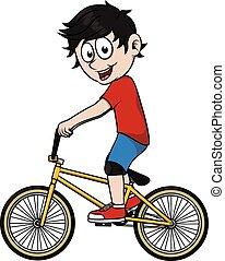 junge, fahrrad, spielende