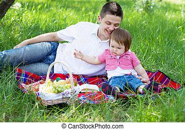 junge familie, auf, a, picknick
