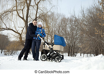 junge familie, in, winter, park