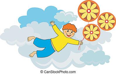 junge, fliegendes, luftballone
