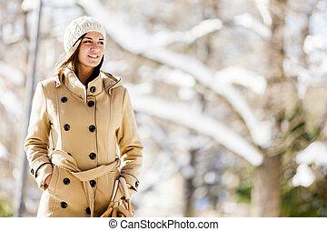 junge frau, an, winter