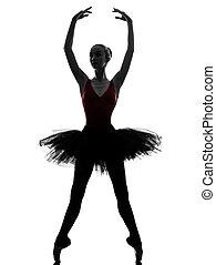junge frau, ballerina, ballettänzer, tanzen, silhouette