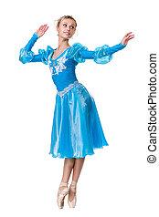 junge frau, ballerina, ballettänzer, tanzen, weiß, hintergrund