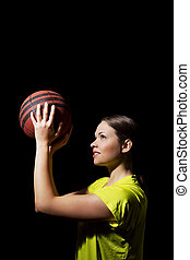 junge frau, basketballspieler