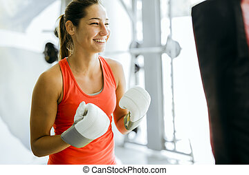 junge frau, boxen, und, training