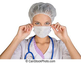 junge frau, doktor, in, kappe, und, gesichtsmaske, weiß, hintergrund