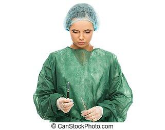 junge frau, doktor, mit, chirurgie, skalpell, und, schere
