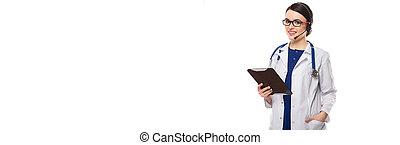junge frau, doktor stethoscope, und, kopfhörer, besitz, tablette, in, sie, hände, in, weiße uniform, weiß, hintergrund