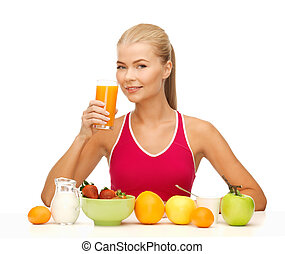 junge frau, essende, gesundes frühstück