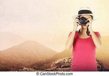 junge frau, fotograf