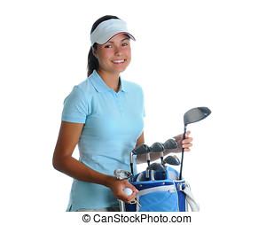 junge frau, golfspieler