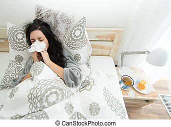 junge frau, haben, grippe, blasen, sie, nose.