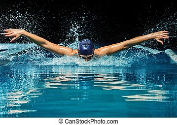 junge frau, in, blaue kappe, und, schwimmen- klage, in,...