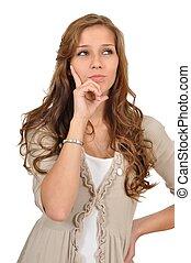 Junge Frau in Denkerposition