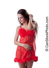 junge frau, in, rotes , sexy damenunterwäsche