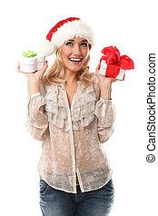 junge frau, in, rotes , weihnachten, kappe, besitz, geschenke