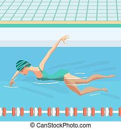 blaues wohnung schwimmender pool innenseite junger abbildung badeanzug ffentlichkeit. Black Bedroom Furniture Sets. Home Design Ideas