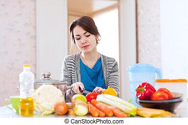 junge frau, kochen, veggie, lebensmittel