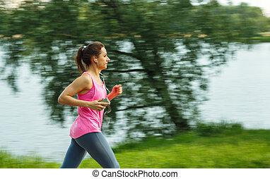 junge frau, läufer, rennender , auf, spur, in, der, morgen