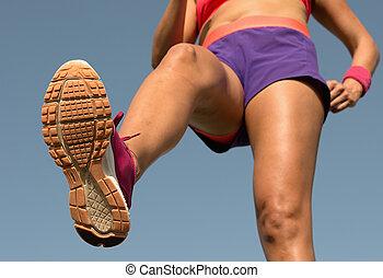 junge frau, läufer, rennender , für, marathon, laufen