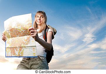 junge frau, mit, landkarte, und, rucksack