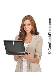 Junge Frau mit Netbook