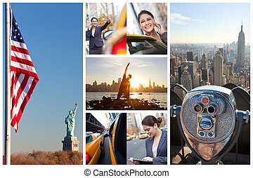 junge frau, new york city, lebensstil, montage