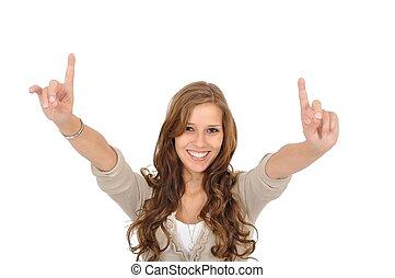 Junge Frau reisst Finger nach oben