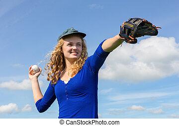 junge frau, spielenden baseball, mit, kappe, handschuh, und, kugel