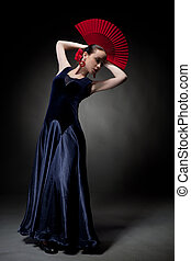 junge frau, tanzen, flamenco, auf, schwarz