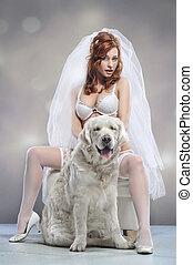 junge frau, tragen, wedding, damenunterwäsche, mit, hund