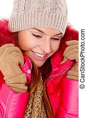 junge frau, tragen, winterjacke, schal, und, kappe