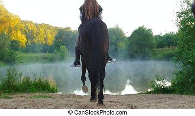 junge frauen, auf, pferderücken, hereinkommen, der, see, in,...