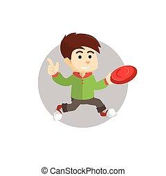 junge, frisbee, spielende