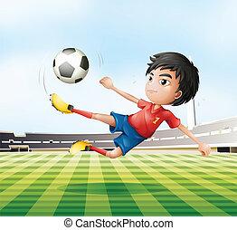 junge, fußball, feld spielt