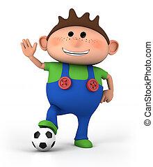 Junge, fussball, Kugel