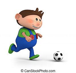 Junge, fussball, spielende