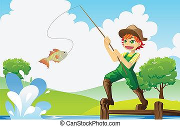 junge, gehen, fischerei