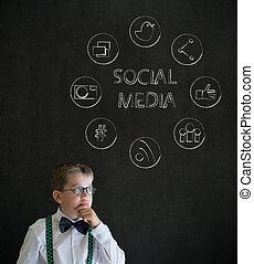 junge, geschäfts-ikon, denken, medien, sozial, mann