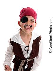 junge, glücklich, kostüm, pirat