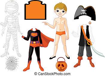 junge, halloween, kostüme