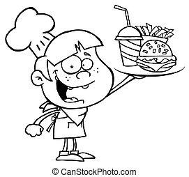 junge, halten aufwärts, a, cheeseburger