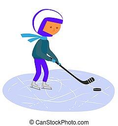 junge, hockey., spielende